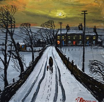 James Downie Original Oil Painting The Country Track In Winter